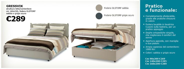 Letto gressvik for the home pinterest bedrooms and beds for Mobilia letti contenitore