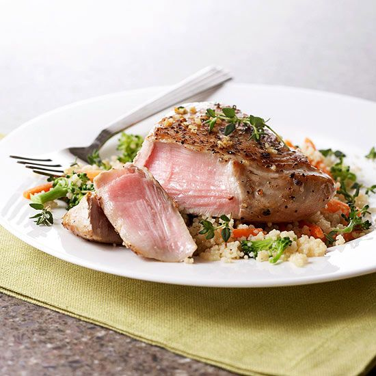 Lemon pepper tuna and couscous on pinterest for Healthy fish dinner recipes