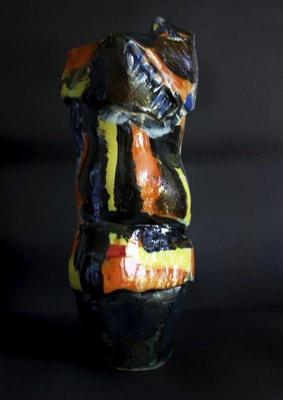 Tall free form with underglaze & black gloss & black matt glaze.
