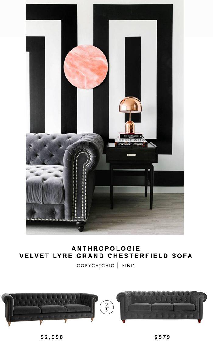 Anthropologie Velvet Lyre Chesterfield Sofa for $2,998 vs Houzz Chesterfield Sofa for $579   @copycatchic look for less chic find budget home decor design http://www.copycatchic.com/2016/09/anthropologie-velvet-lyre-grand-chesterfield-sofa.html?utm_campaign=coschedule&utm_source=pinterest&utm_medium=Copy%20Cat%20Chic&utm_content=Anthropologie%20Velvet%20Lyre%20Grand%20Chesterfield%20Sofa