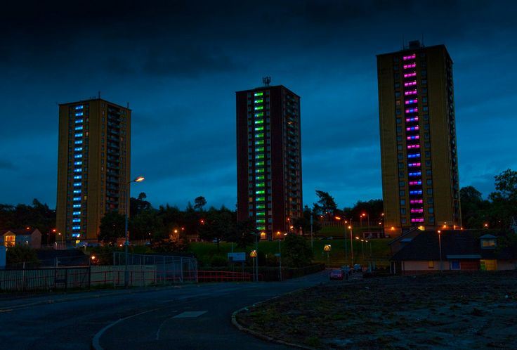 Collective Architecture in Glasgow connect the lighting of three towers blocks to the weather forecast.