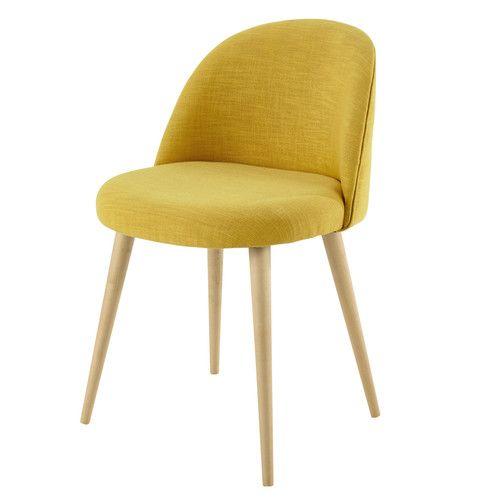 Chaise vintage en tissu et bouleau massif jaune 79e