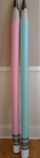 Pool noodles become pencils for Back to School display.