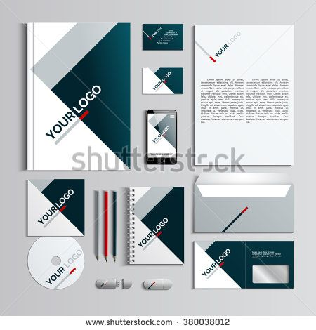 Corporate identity template in dark blue and grey colors with geometric pattern. Vector company style for brandbook and guideline. EPS 10