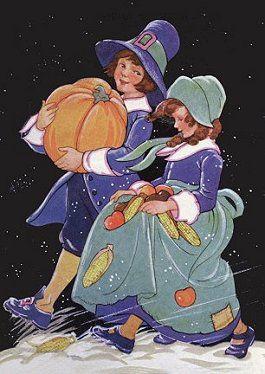 Vintage Pilgrim Boy  Girl Thanksgiving illustration.