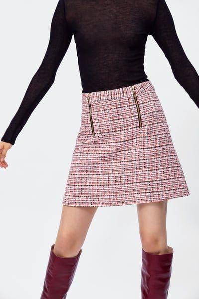 05c655ed Falda mini tweed in 2019 | Fall | Fall skirts, Tweed mini skirt ...