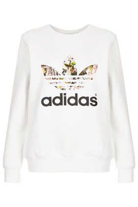 **Trefoil Print Sweat by Topshop x adidas Originals - Topshop x adidas Originals - Clothing