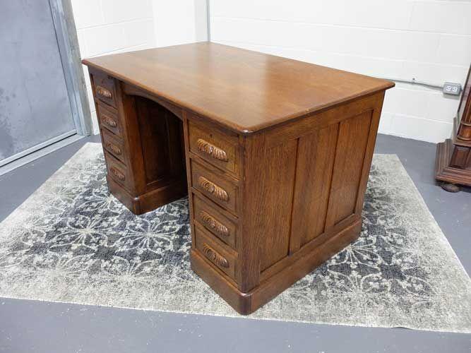 Antiques By Design   Quartered Oak Victorian Double Pedestal Desk