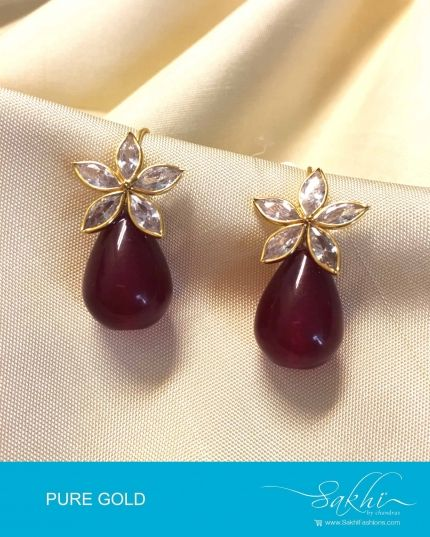 White & Maroon Pure Gold Earring