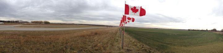Flags line Highway 11 between Red Deer and Sylvan Lake in honour of 116,000 Canadian soldiers who have died since 1900.
