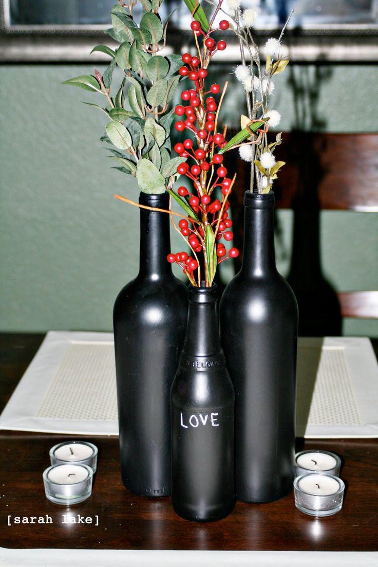 42 best wine bottle centerpieces images on pinterest wine bottle centerpieces decorated. Black Bedroom Furniture Sets. Home Design Ideas