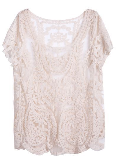 Apricot Short Sleeve Hollow Crochet Lace Top pictures