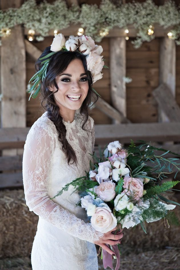 rose and cotton ball bouquet & floral crown / Kerry Ann Duffy Photography