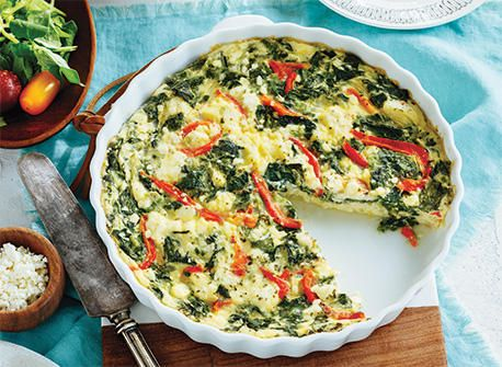 Spinach & Roasted Red Pepper Crustless Quiche