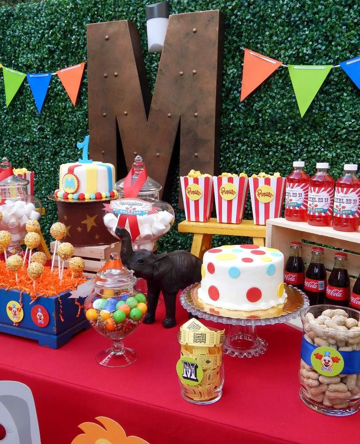 Circus birthday party dessert table! See more party planning ideas at CatchMyParty.com!
