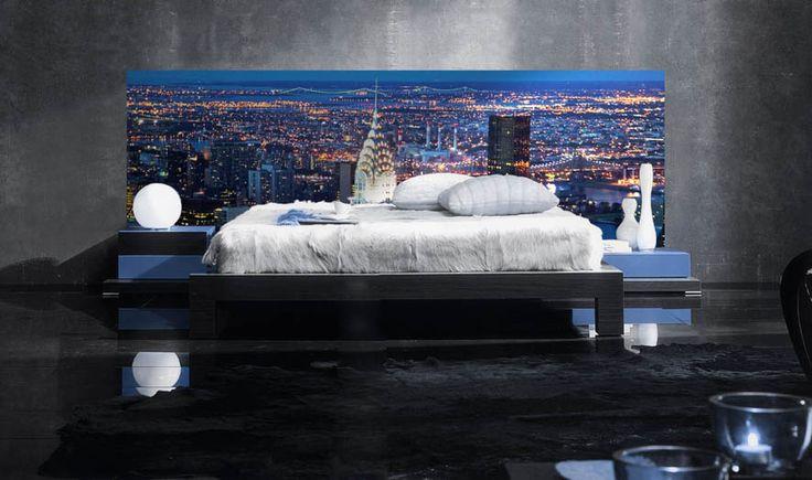 Sengegavl med LED Belysning : Modell NY CHRYSLER