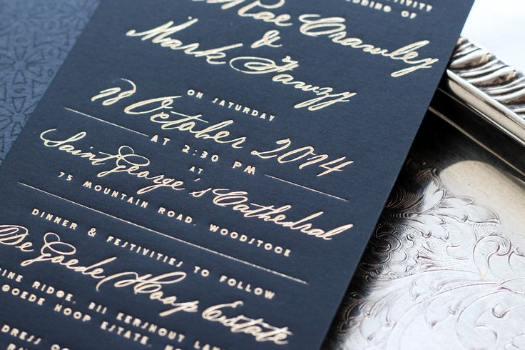 There is nothing more luxurious than gold foiling on black paper! These gold foiled invitations were created for the wedding of Toni and Mark by Secret Diary Designs. #foiling #foiled #goldfoil #invitation #invitations #weddinginvitations #luxuryinvitation #weddingstationery
