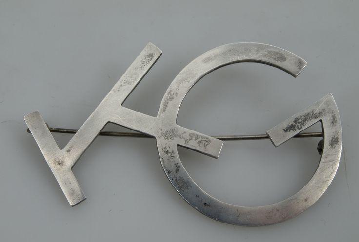 WIWEN NILSSON. Brosch, silver, monogram KG, 1939, signerad, 13,1 gram.