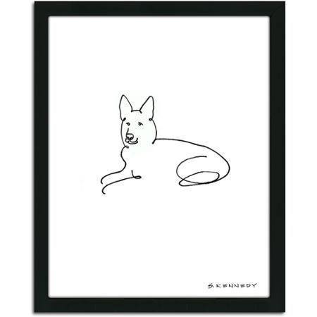 $32.46 Personal-Prints German Shepherd Dog Line Drawing Framed Art