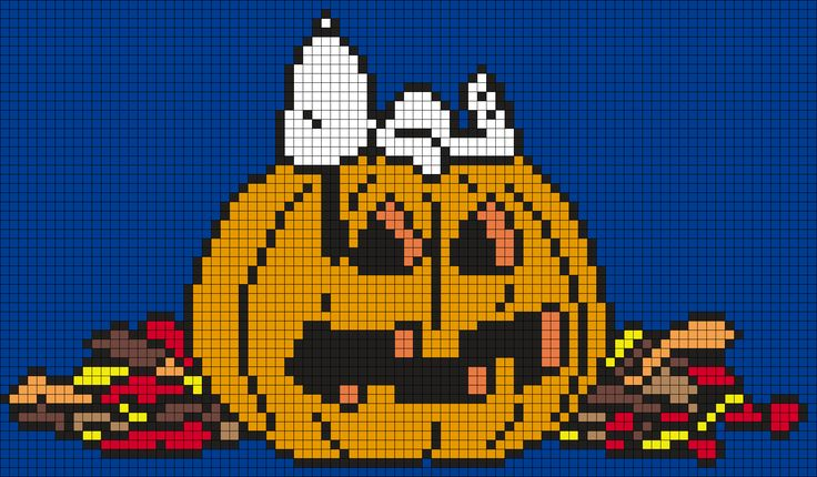 Halloween Snoopy On A Jack O'Lantern Perler Bead Pattern / Bead Sprite