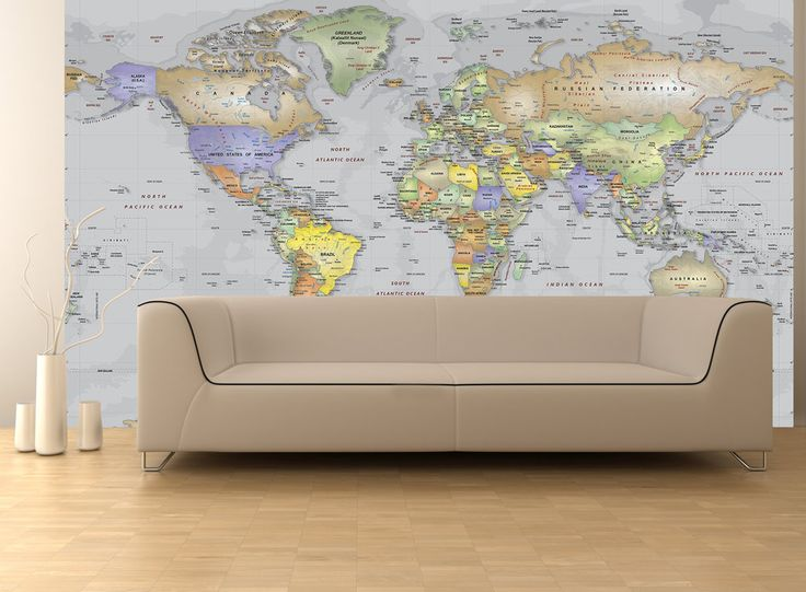 523 best map decor images on pinterest map globe world maps and gray oceans world political map wall mural miller projection sciox Images