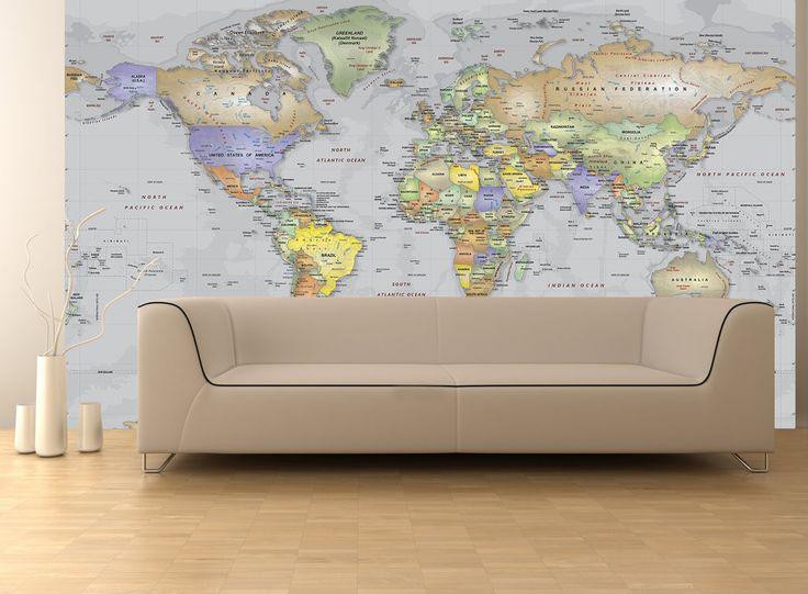 Gray Oceans World Political Map Wall Mural   Miller Projection Part 74