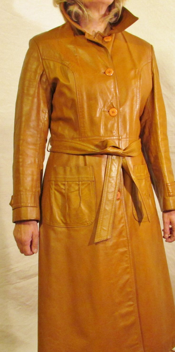 Size 13/14 Womens Leather Coat, Full Length Leather Coat, Winter Coat, Brown Leather Coat, Belted, LIned, Made in Canada by FASHION COUNCIL by SommersFashionAttic on Etsy