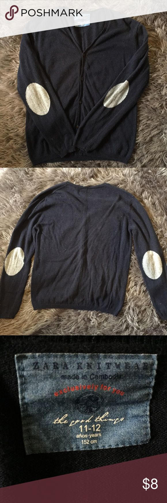 """Navy Blue Zara Cardigan w/ grey elbow pads Adorable sweater. Could be boy or girl in my opinion! Slightly """"fuzzy"""" just needs a good brush. Zara Shirts & Tops Sweaters"""