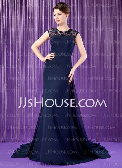 Mother of the Bride Dresses - $156.99 - A-Line/Princess Scoop Neck Watteau Train Chiffon Tulle Mother of the Bride Dress With Ruffle Lace Beading Sequins (008018769) http://jjshouse.com/A-Line-Princess-Scoop-Neck-Watteau-Train-Chiffon-Tulle-Mother-Of-The-Bride-Dress-With-Ruffle-Lace-Beading-Sequins-008018769-g18769