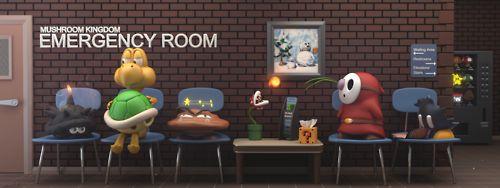 La típica sala de urgencias en el Reino Champiñón