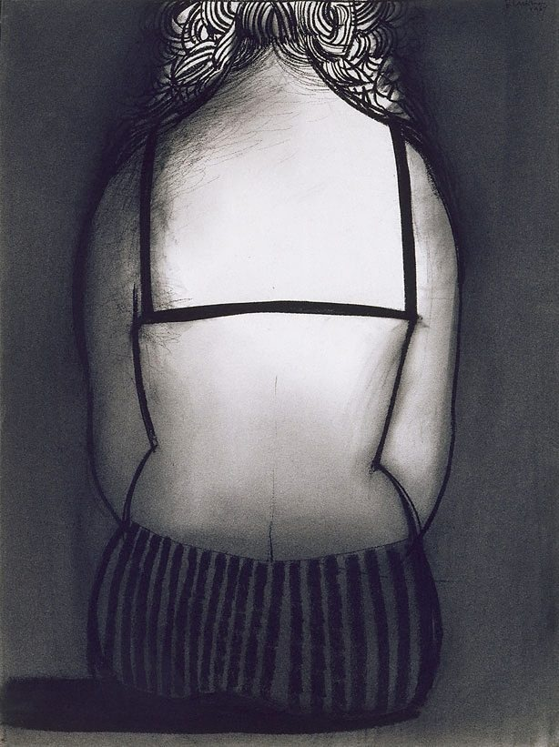 Charles Blackman ~ Bather I, 1967 (conté, charcoal)