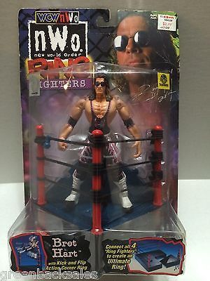 (TAS006058) - WWE WWF WCW nWo Wrestling Ring Fighters Figure - Bret Hitman Hart