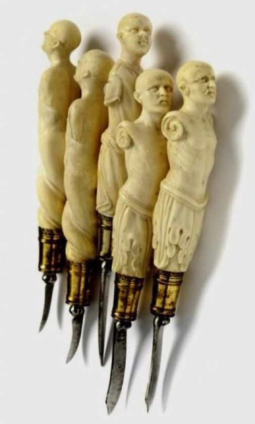A magnificent set of surgical instruments, German, ca 1600. Ivory, silver fire-gilt, iron.