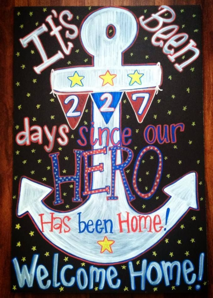Military welcome home chalkboard homecoming sign for Military welcome home party decorations