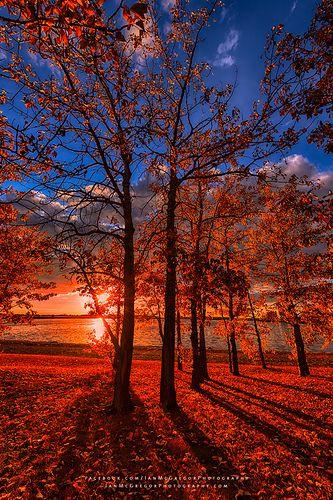 Autumn Perfection - The setting sun casts its last light onto this beautiful autumn scene, Canada