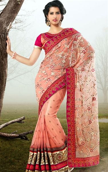 Picture of Marvelous Fuchsia and Mistyrose Color Indian Designer Saree