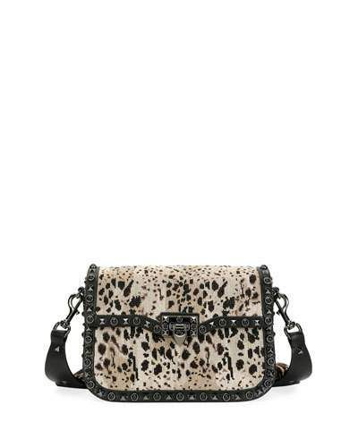 Valentino Rockstud Rolling Noir Guitar Shoulder Bag, Black