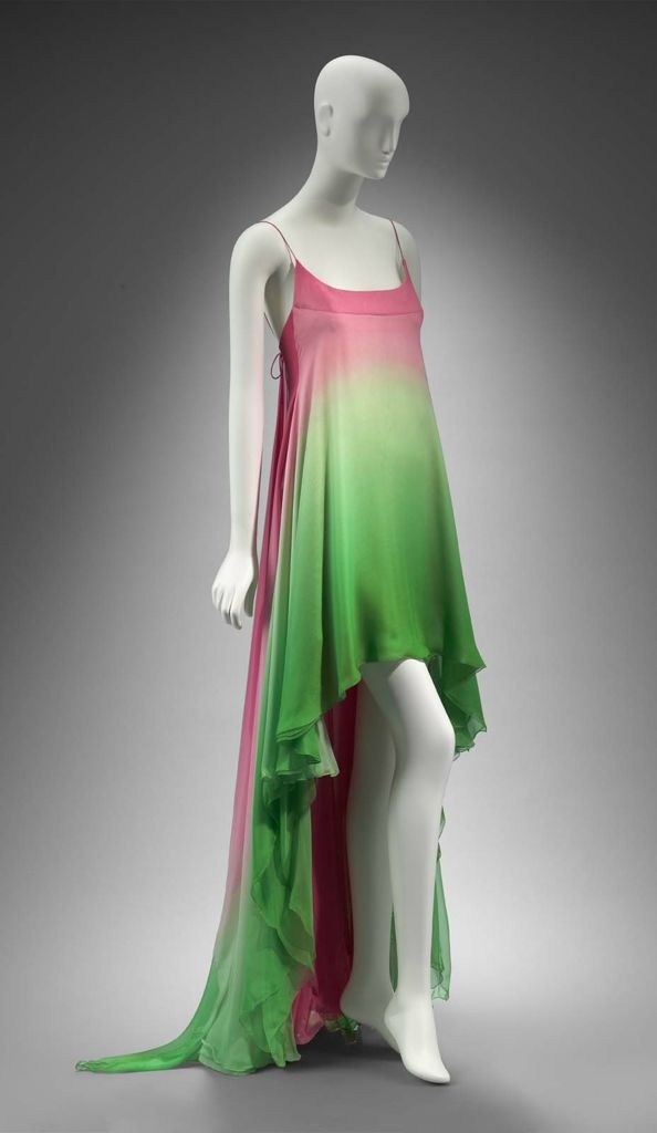 Spring 1984, America - Woman's evening dress by Arnold Scaasi - Silk plain weave (chiffon), ombre printed; metal