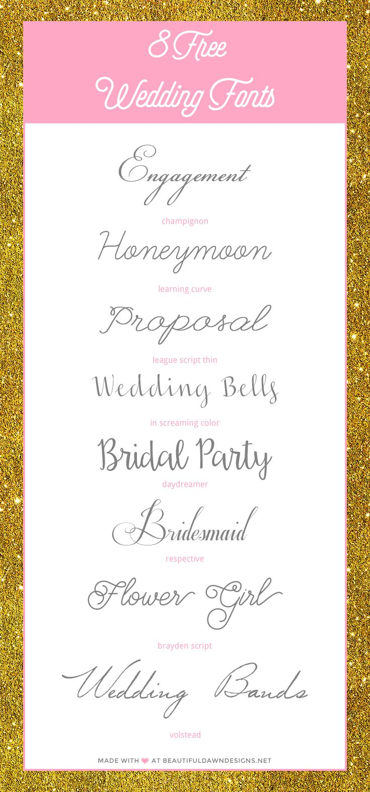 With wedding season approaching, I know a lot of soon to be brides are on the search for beautiful fonts to use for their invitations and announcements. I'm sharing 8 free fonts that are perfect for wedding invitations. Enjoy this roundup of free wedding fonts.