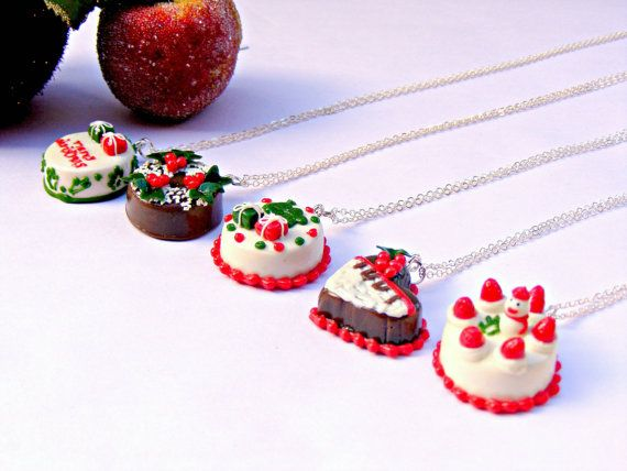 Christmas Cake Necklace, Polymer Clay Polymer Clay Jewelry..  thought these are cute and neat. would't wear tho!