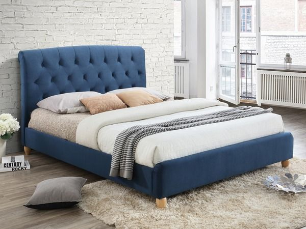 Birlea Brompton 5ft King Size Midnight Blue Upholstered Fabric Bed