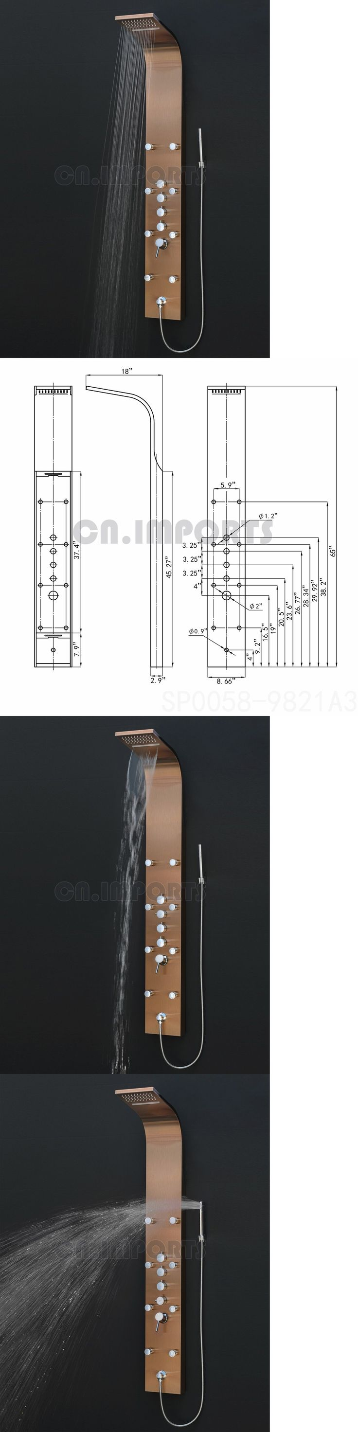 Shower Panels and Massagers 121849: Stainless Steel Rainfall Waterfall Shower Head Shower Tower Panel In Bronze -> BUY IT NOW ONLY: $249.99 on eBay!