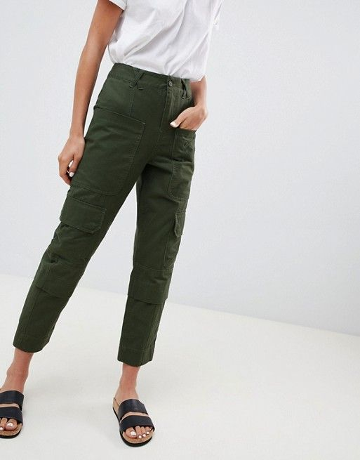 82fa563f DESIGN slim leg utility pants in green | Fashion | Leggings are not ...
