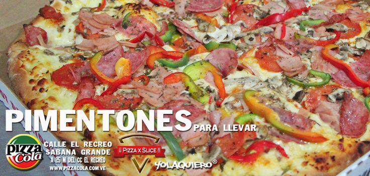 Pizza con pimentones estilo pizzacola. Full queso y bien resuelta.La pizza como tiene que ser.  www.pizzacola.com.ve