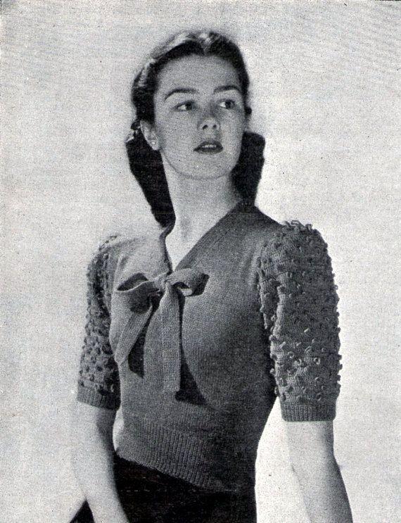 1946 Damen Bogen Jumper häkeln Ärmel Vintage stricken und häkeln Muster PDF …