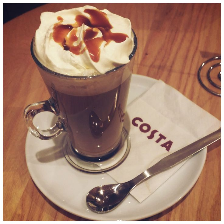 A warm caramel latte - Costa Coffee