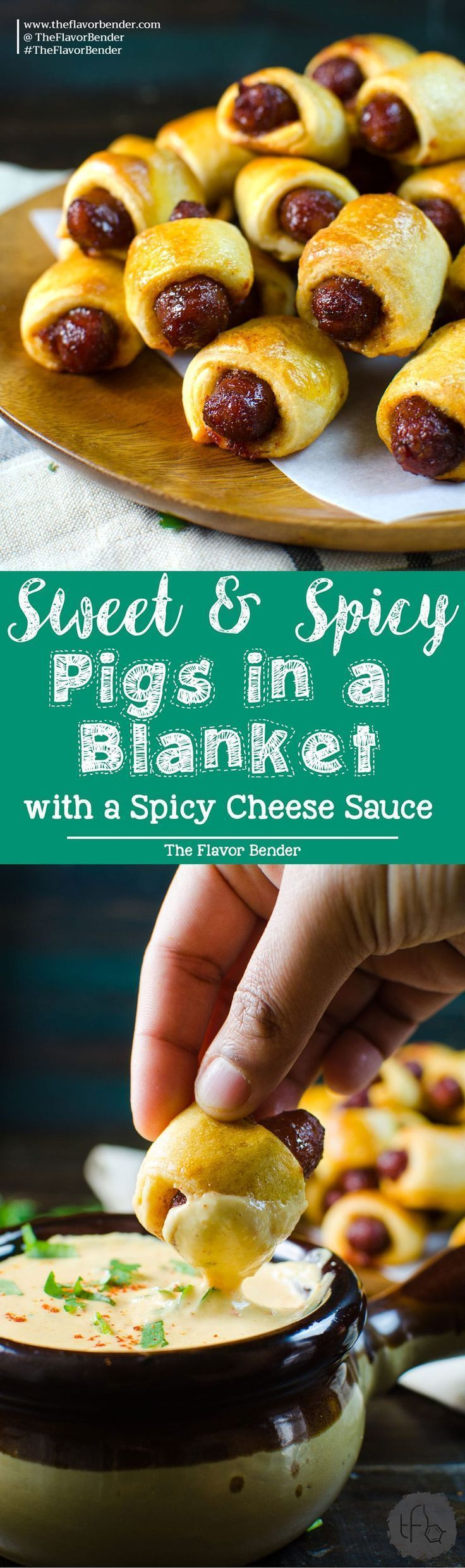 Sweet and Spicy Pigs in a Blanket - Kick up your regular Pigs in a Blanket with this sweet and spicy version served with a creamy spicy cheese sauce, spiced with Habanero and Mustard. Perfect for Holiday Parties, Game day snacks, March Madness or any party! Recipe from http://theflavorbender.com Party food | Appetizers | Pigs in a Blanket | Crescent dough | Nacho Sauce | Cheese Sauce | Game Day | March Madness | Holiday Appetizers