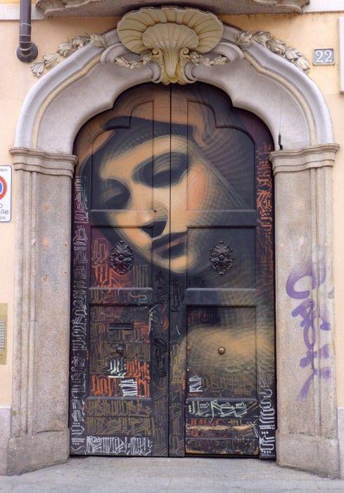 Mural doorsStreet Artists, The Doors, Painting Doors, Front Doors, Milan Italy, Elmac, Doors Art, Streetart, El Mac