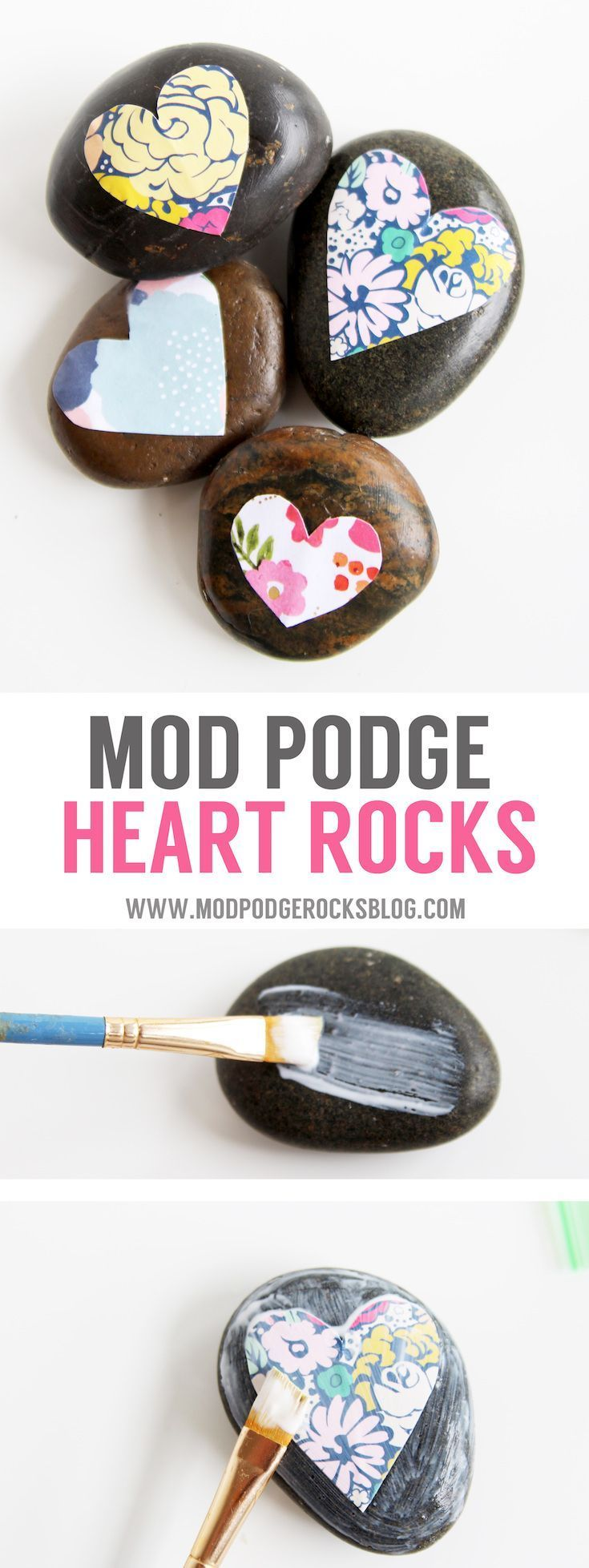 Make some pretty stones for your garden or desktop with a little bit of decoupage. It's easy to Mod Podge on rocks and the results are so pretty! via @modpodgerocks