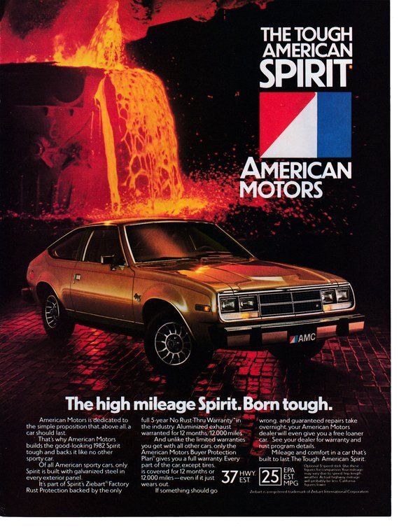 1982 Amc Spirit Sports Car Tough Original Magazine Ad American Motors This Is An Original Magazine Ad Size Is American Motors Amc American Motors Corporation